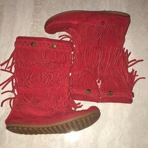 Minnetonka triple fringe boots red high